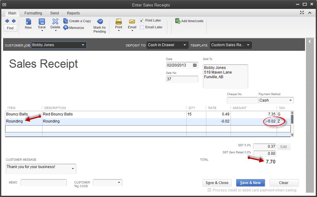word 2013 sales receipt